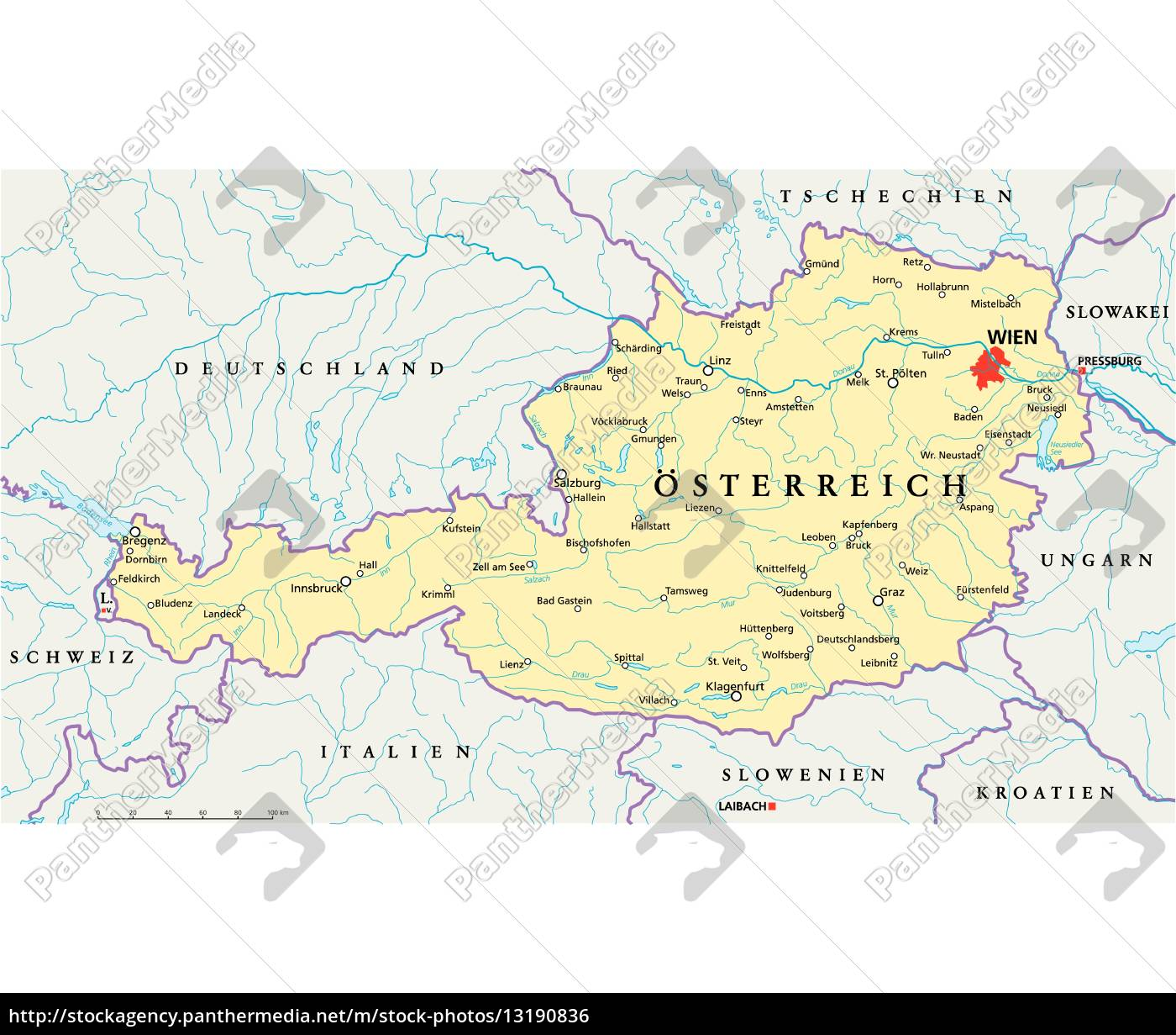 Austria Political Map German Labeling Royalty Free Photo