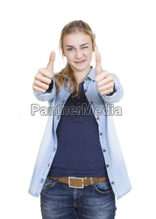 young girl two thumbs