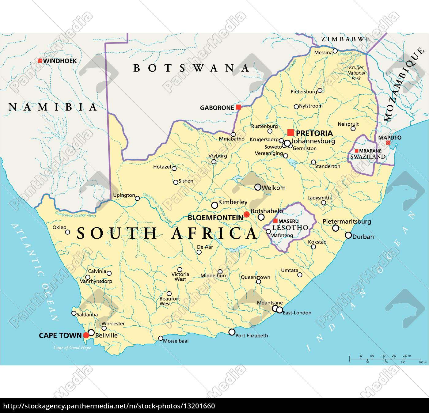 Political Map Of South Africa South Africa Political Map   Royalty free photo   #13201660
