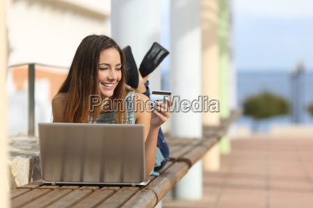 casual girl buying online with a