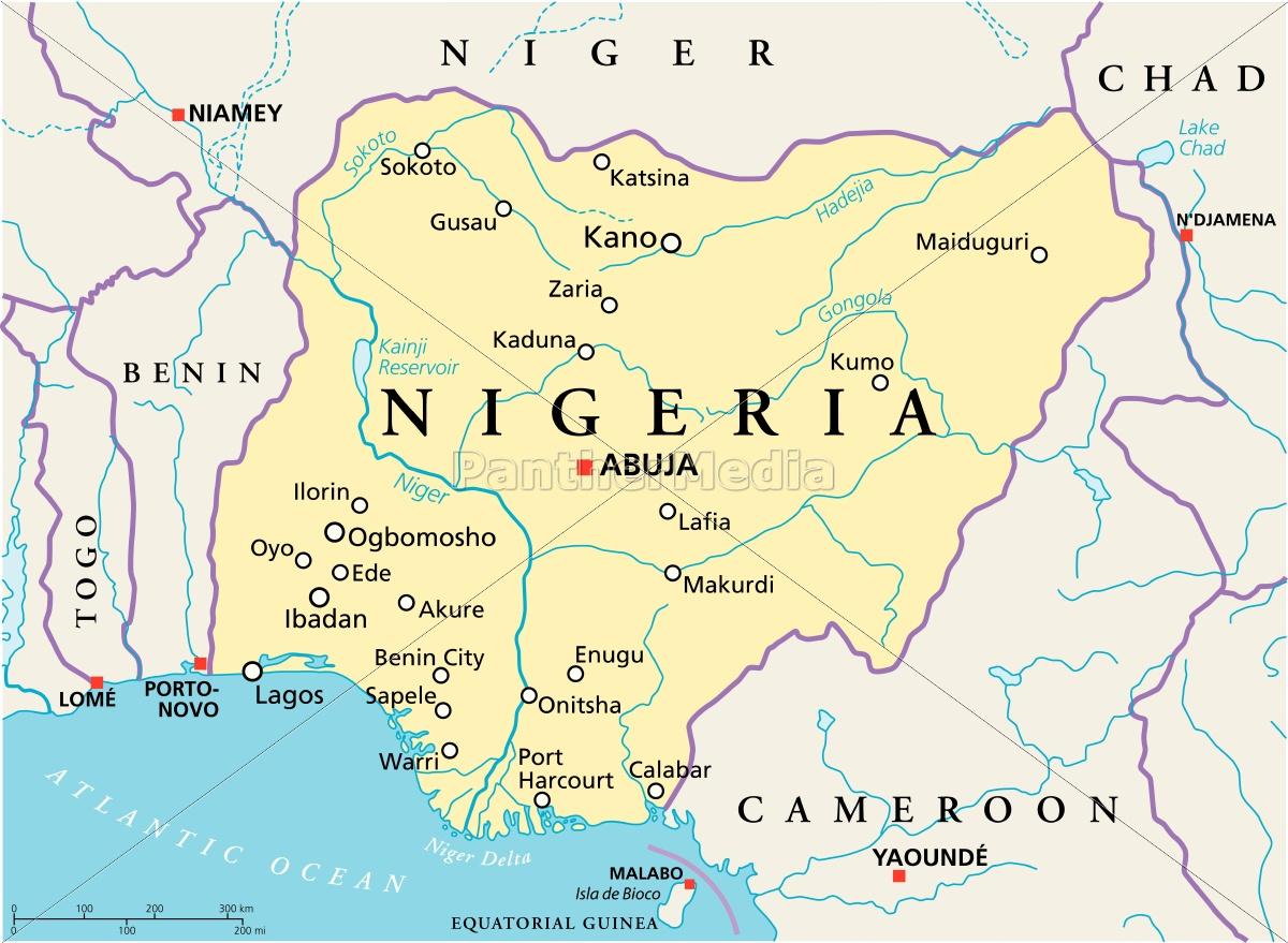 Nigeria Political Map Stock Image 13206122 Panthermedia