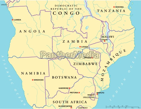 south central africa political map