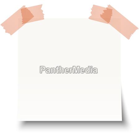 white sticky note with sticky tape