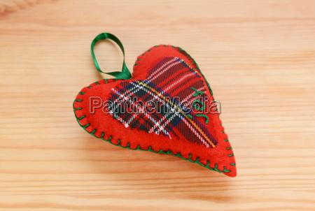 handmade red plaid heart shaped festive