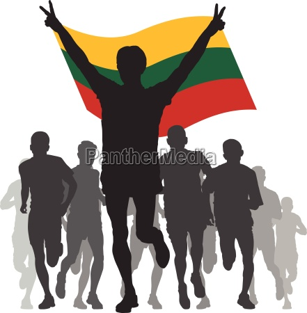 winner with the lithuania flag at