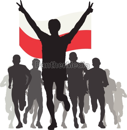 winner with the poland flag at