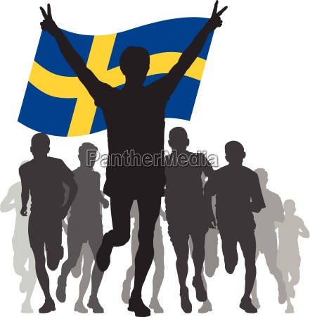 winner with the sweden flag at