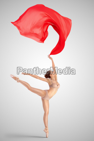 dancing with red fabric