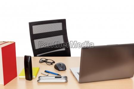 desk with utensils