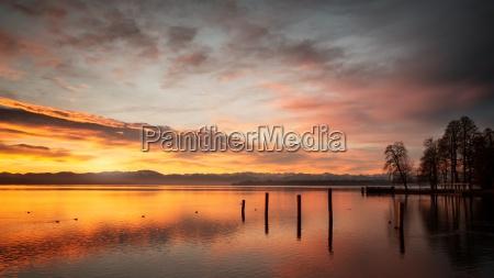 sunset over lake starnberg