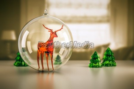 reindeer in a christmas ball