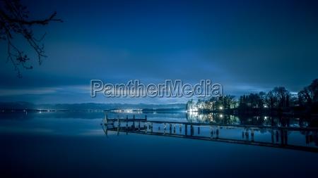 lake starnberg at night