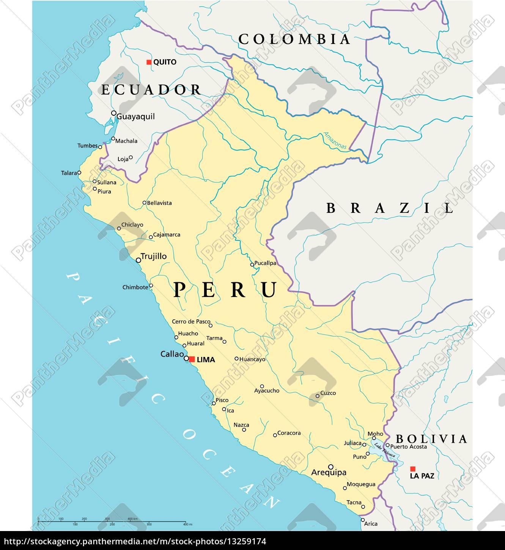 Peru Political Map Stock Image 13259174 Panthermedia Stock