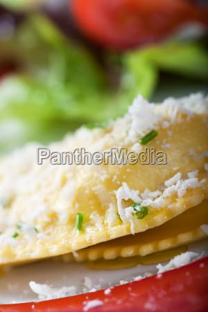 closeup of fresh ravioli