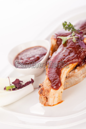 grilled pork ribs spareribs with barbecuesauce