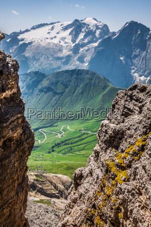 summer view of sass pordoi mount