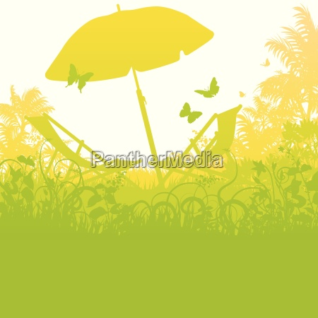sun loungers with umbrella in the