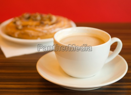 morning coffee and cake in cafe