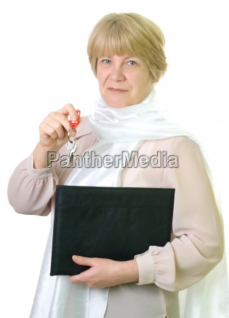 mature business woman with folder and