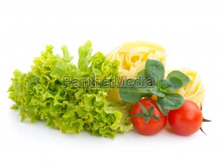 fresh salad lettuce leaves macaroni and