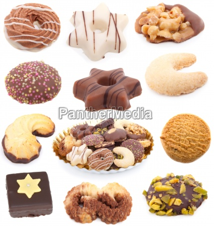 christmas cookies collection isolated on white