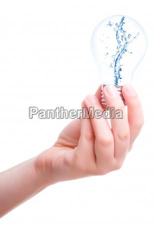 splash water in the light bulb