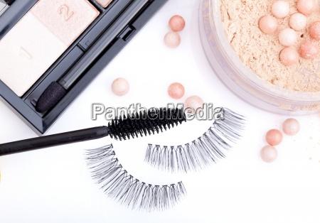 black false eyelashes with mascara and