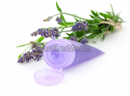 lavender soothing cream tube and lavender