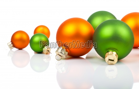 colored christmas decorations orange and