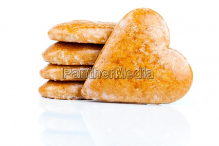cookies in heart shape on white