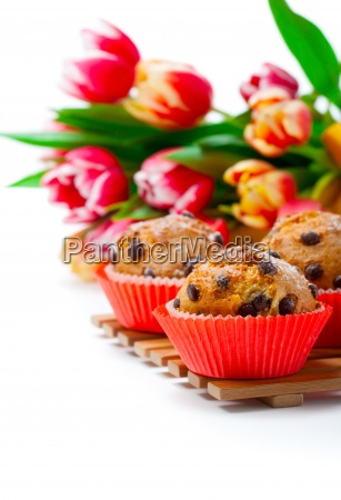 muffins with tulips on white background