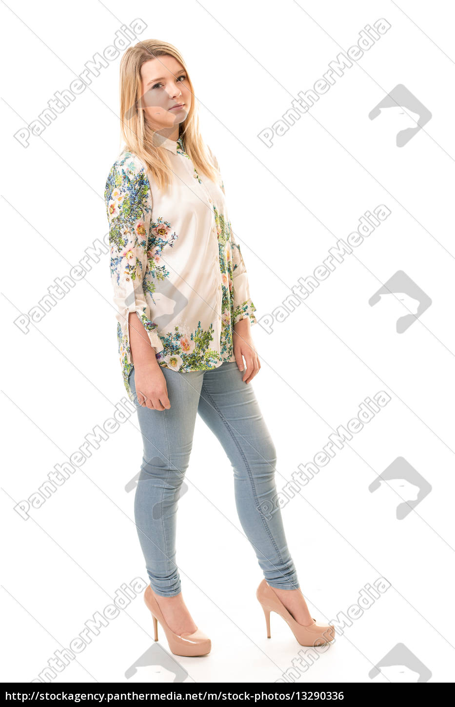 Royalty Free Photo 13290336 Beatiful Blond Teenager In Shirt And Trousers