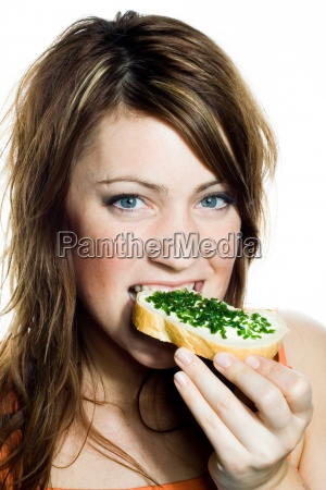 woman bread beautiful beauteously nice female