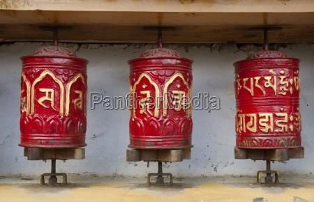 prayer wheels in the himalayas nepal