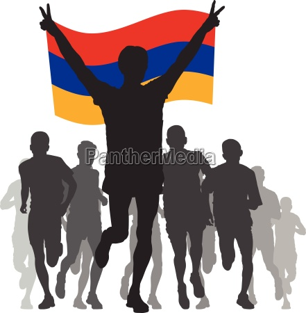 winner with the armenia flag at