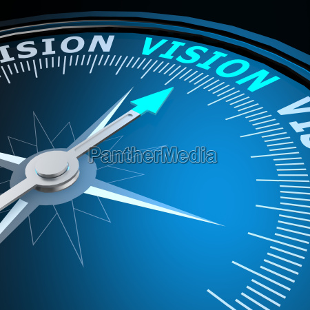 vision word on compass