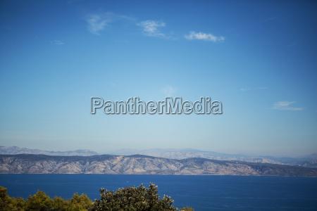 sea summer panorama blue mountains