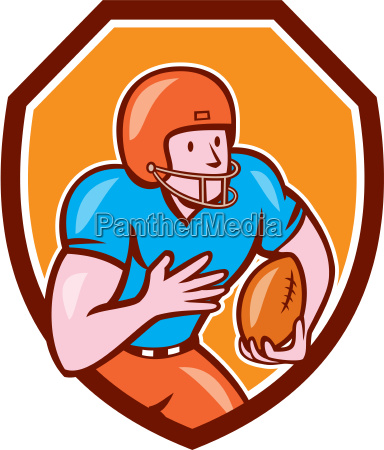 american football receiver running ball shield