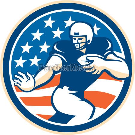 american football running back fending circle