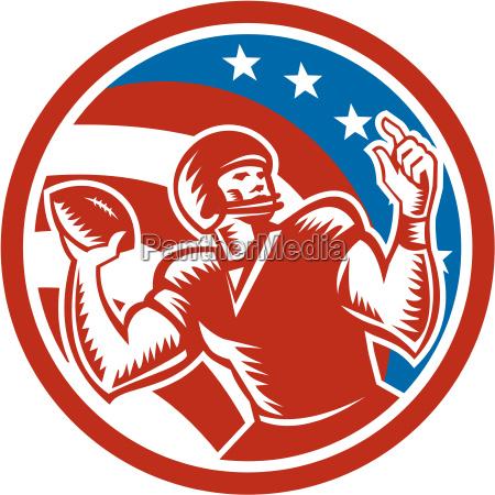 american football qb throwing usa flag