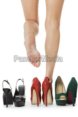 different pairs high heels stilettos as
