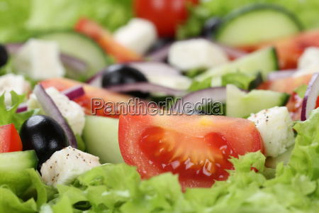 close up greek salad with tomatoes