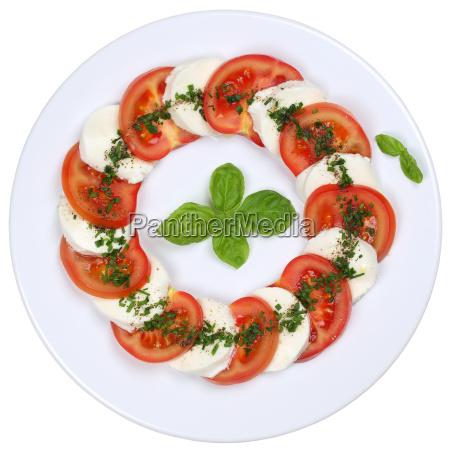 salad caprese with tomatoes and mozzarella