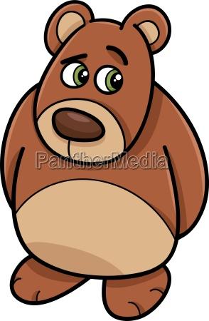 cartoon illustration of shy bear or