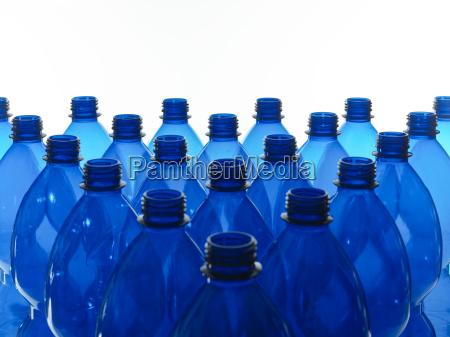 blue plastic bottles