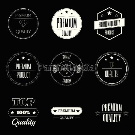 set of vintage product quality labels