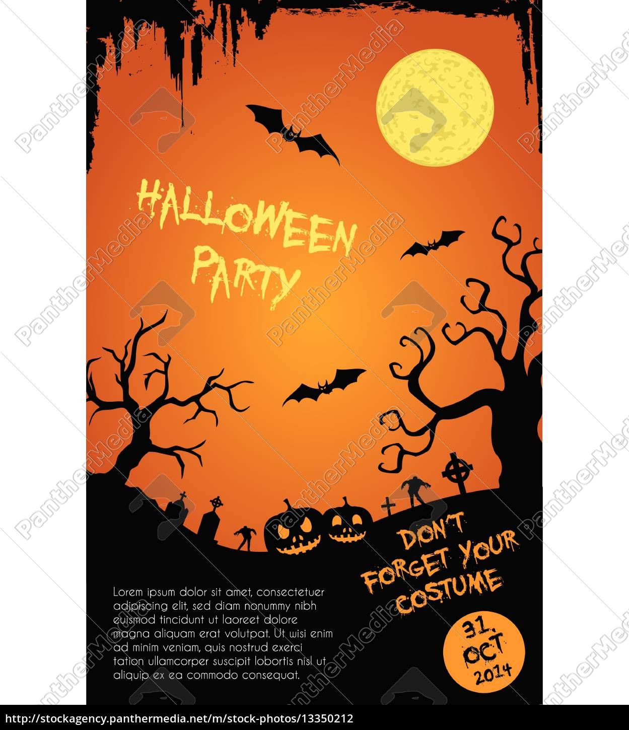 Halloween Party Flyer Template Orange And Black Royalty Free Photo 13350212 Panthermedia Stock Agency