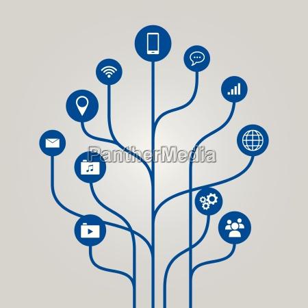 abstract icon tree illustration phone