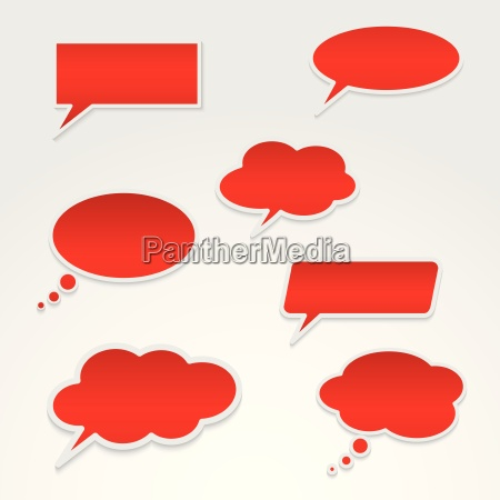 set of various red speech bubbles