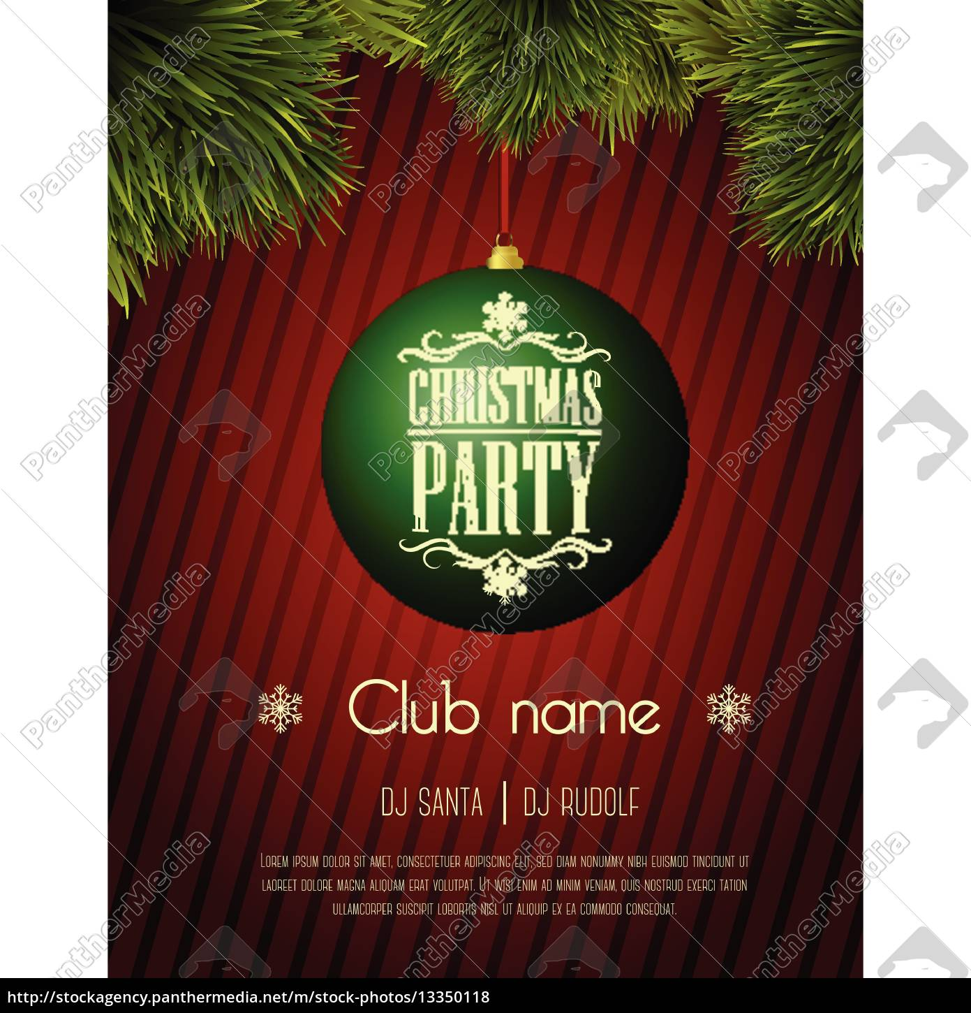 Christmas Party Flyer Template.Royalty Free Vector 13350118 Christmas Party Flyer Template Green Bauble On A Red